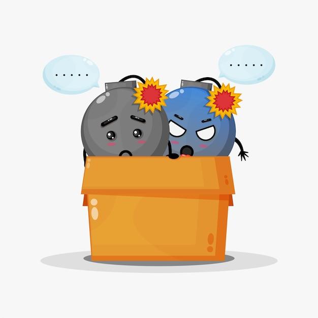 Simpatica mascotte di bombe nella scatola