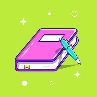 Illustrazione di vettore del fumetto del libro sveglio. stile cartone animato piatto vettore premium