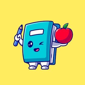 Libro carino tenendo matita e mela icona del fumetto illustrazione.