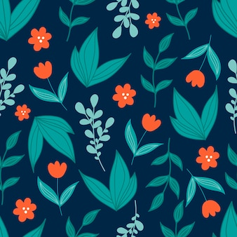 Modello senza cuciture botanico carino con foglie verdi e fiori rossi in stile doodle su sfondo blu scuro.