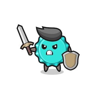 Simpatico soldato con tappo di bottiglia che combatte con spada e scudo, design in stile carino per maglietta, adesivo, elemento logo