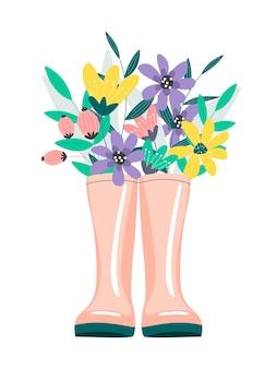 Un grazioso bouquet di foglie autunnali e bacche in stivali di gomma. Vettore Premium