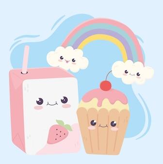 Simpatico personaggio dei cartoni animati di kawaii arcobaleno di cupcake e succo di bigné