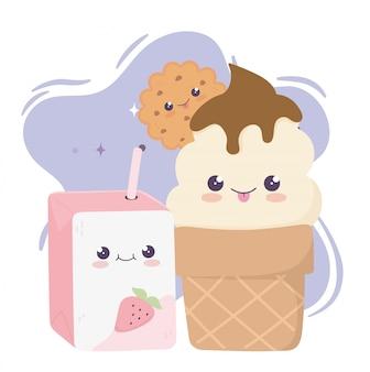 Simpatico personaggio dei cartoni animati di kawaii succo di frutta e gelato