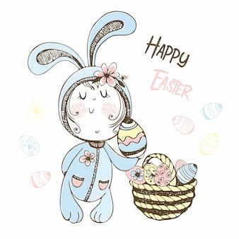 Ragazzo carino in un costume da coniglio con un cesto di uova di pasqua. buona pasqua.