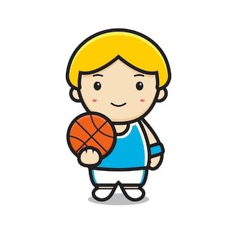 Carattere del ragazzo carino che gioca a basket. disegno isolato su sfondo bianco.