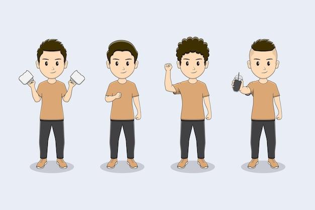 Set di personaggi da ragazzo carino con molte pose con tazza