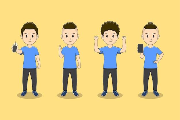 Set di caratteri per ragazzo carino con molte pose