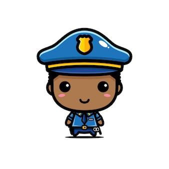 Disegno di carattere poliziotto ragazzo carino isolato su bianco