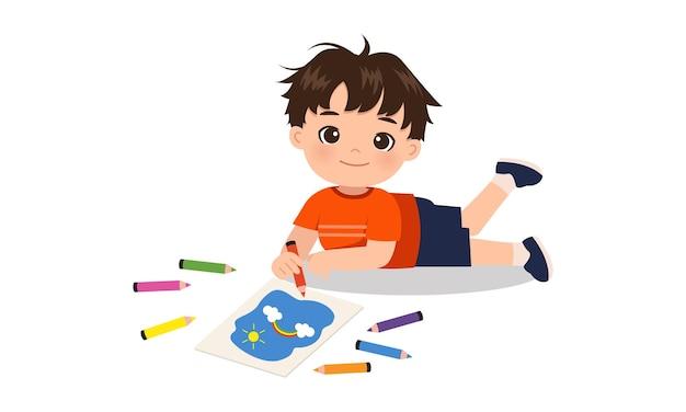 Ragazzo carino disegno sul pavimento con colori a matita design piatto cartone animato isolato su bianco