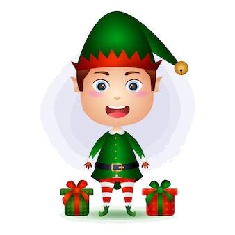 Elfo sveglio del ragazzo con l'illustrazione del contenitore di regali