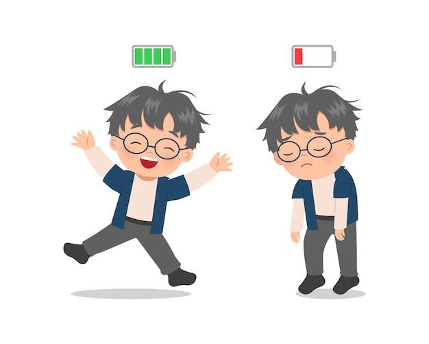 Il ragazzo sveglio esprime l'umore eccitato e stanco con l'indicatore della batteria. stile cartone animato piatto