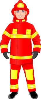 Ragazzo carino pompiere isolato su sfondo bianco
