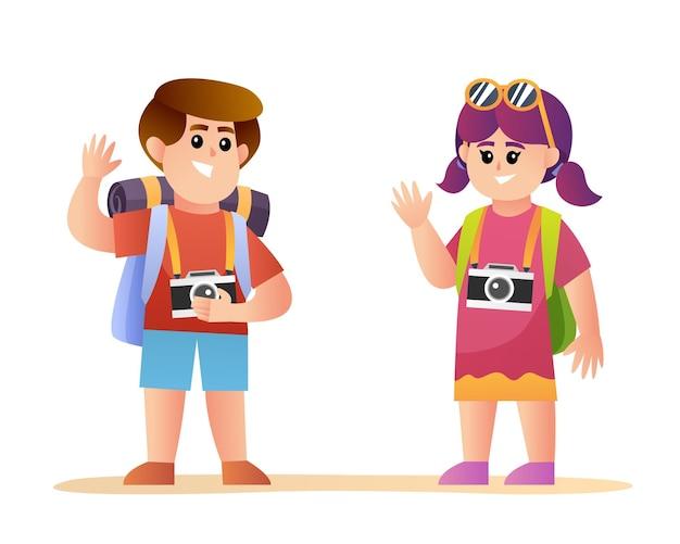 Simpatici personaggi viaggiatori ragazzo e ragazza