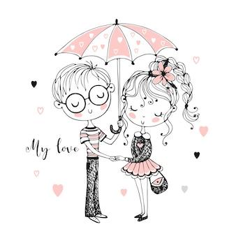 Ragazzo e ragazza svegli sotto l'ombrello. rendezvous.