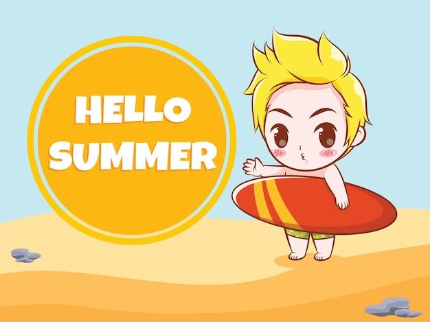 Un ragazzo carino che tiene una tavola da surf dice ciao illustrazione di saluto estivo estivo