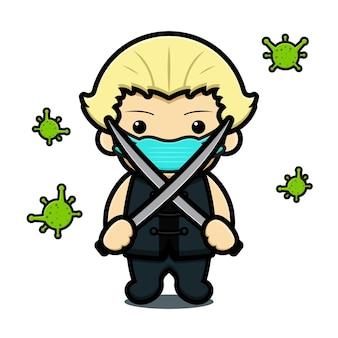 Ragazzo sveglio che tiene la lotta con la spada contro l'illustrazione dell'icona di vettore del fumetto del virus. disegno isolato su bianco. stile cartone animato piatto.