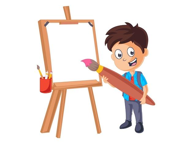 Il ragazzo carino sta facendo la pittura a bordo dell'illustrazione di ritorno a scuola