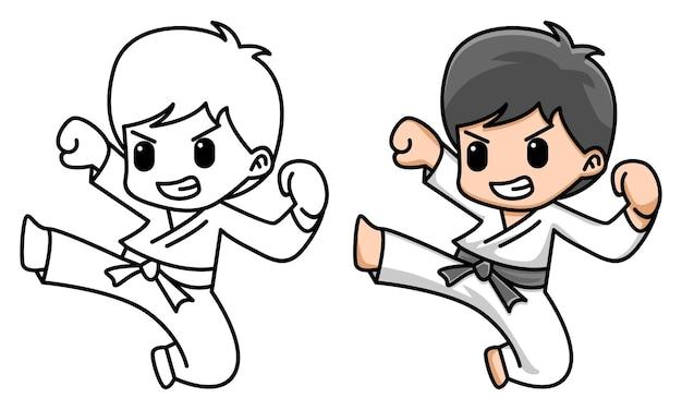 Pagina da colorare di karate ragazzo carino per bambini