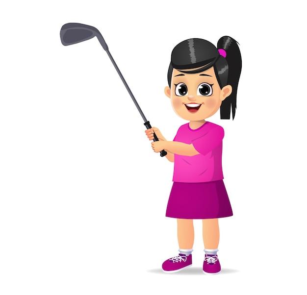 Ragazzo carino che gioca a golf