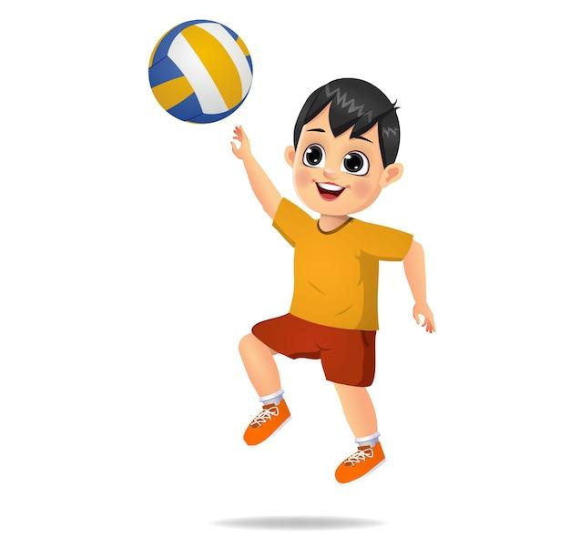 Ragazzo carino che gioca a pallavolo
