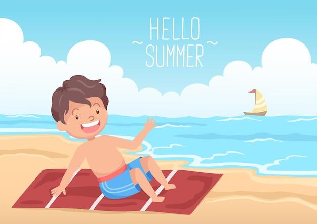 Ragazzo carino sdraiato sulla spiaggia ciao estate