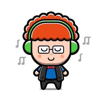 Ragazzo carino ascolta musica personaggio dei cartoni animati