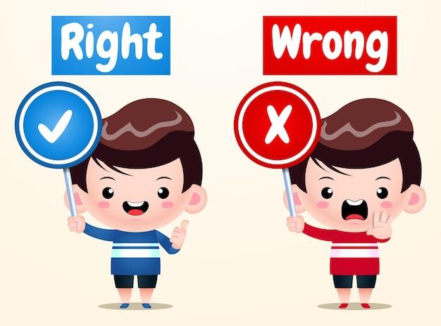Ragazzo carino parole opposte giusto sbagliato