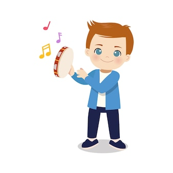 Ragazzo carino che suona lo strumento tamburello