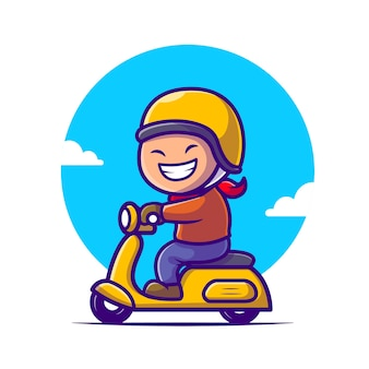Illustrazione sveglia dell'icona del fumetto del motorino di guida del ragazzo.