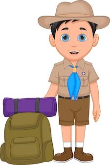 Simpatico cartone animato boy scout su sfondo bianco