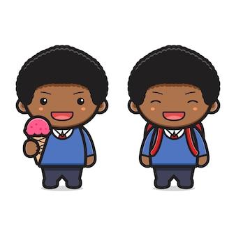 Studente ragazzo carino torna a scuola icona del fumetto. design isolato su stile cartone animato piatto bianco.