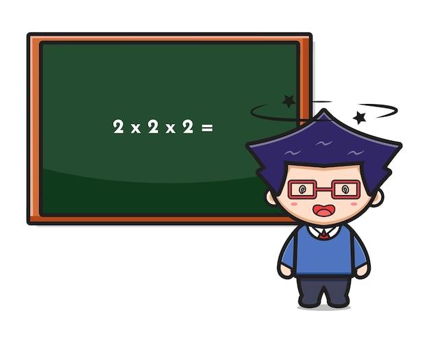 Ragazzo sveglio studente vertigini facendo matematica icona del fumetto illustrazione vettoriale. design isolato su stile cartone animato piatto bianco.
