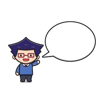 Studente ragazzo carino con illustrazione vettoriale di bolla testo fumetto icona. design isolato su stile cartone animato piatto bianco.