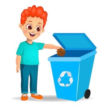 Ragazzo carino gettando spazzatura nel cestino
