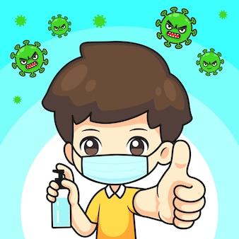 Ragazzo carino indossa maschera e gel alcolico con thunb up per proteggere il virus, personaggio dei cartoni animati kawaii per l'illustrazione