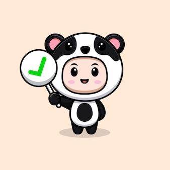 Ragazzo carino che indossa il costume da panda che tiene il segno corretto. illustrazione piatta del personaggio del costume animale