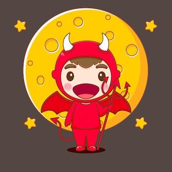Il ragazzo carino indossa l'illustrazione del personaggio di chibi in costume da diavolo