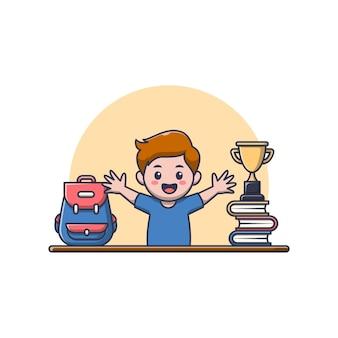 Ragazzo carino con borsa, libro e trofeo.