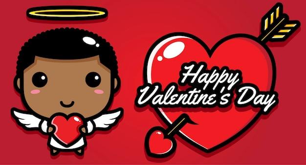Ragazzo carino con auguri di buon san valentino