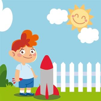 Ragazzo sveglio con il razzo nel fumetto dell'iarda, illustrazione dei bambini