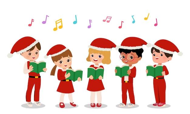 Ragazzi e ragazze carini in uniforme di babbo natale eseguono canti natalizi. clipart di coro scolastico. vettore del fumetto di stile piano isolato.
