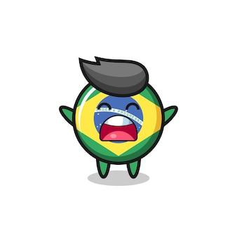 Simpatica mascotte del distintivo della bandiera del brasile con un'espressione di sbadiglio, design in stile carino per maglietta, adesivo, elemento logo