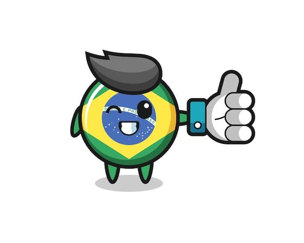 Simpatico distintivo della bandiera del brasile con il simbolo del pollice in alto dei social media, design in stile carino per t-shirt, adesivo, elemento logo