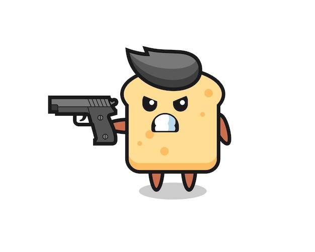 Il simpatico personaggio del pane spara con una pistola, un design in stile carino per maglietta, adesivo, elemento logo