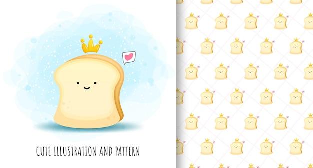 Illustrazione e modello di pane carino Vettore Premium