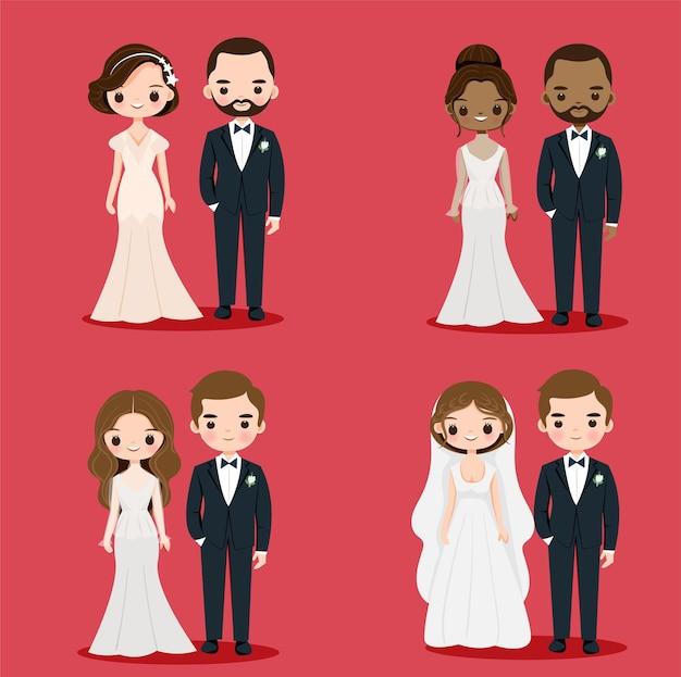 Coppie sveglie dello sposo e della sposa in vestito da sposa per il disegno della carta dell'invito