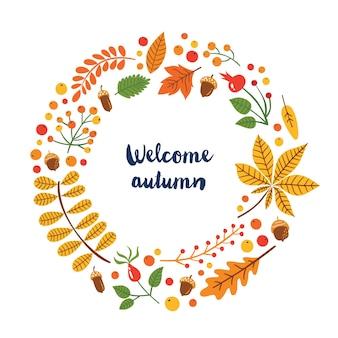 Foglie di autunno botaniche luminose carine. benvenuto autunno.