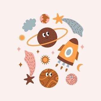 Simpatici oggetti cosmici colorati luminosi in stile boho stampa vettoriale per poster di vestiti della stanza dei bambini