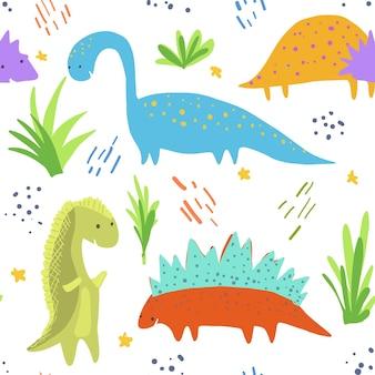 Simpatico motivo di dinosauri luminosi per tessuti per bambini